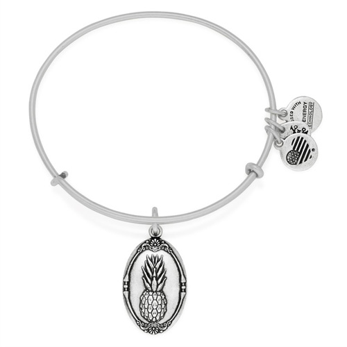 This silver bangle features the Alex and Ani Pineapple Charm.