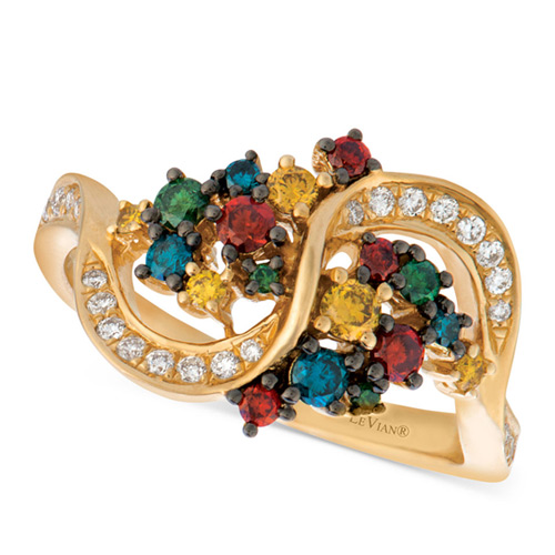 This ring designed by Le Vian features colored diamonds.