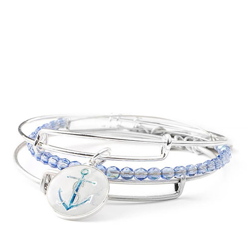 This set features a seashore collection of silver bangles.