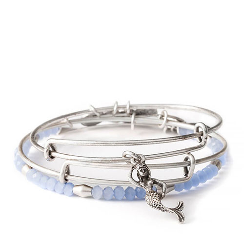 This silver bangle set features a mermaid.