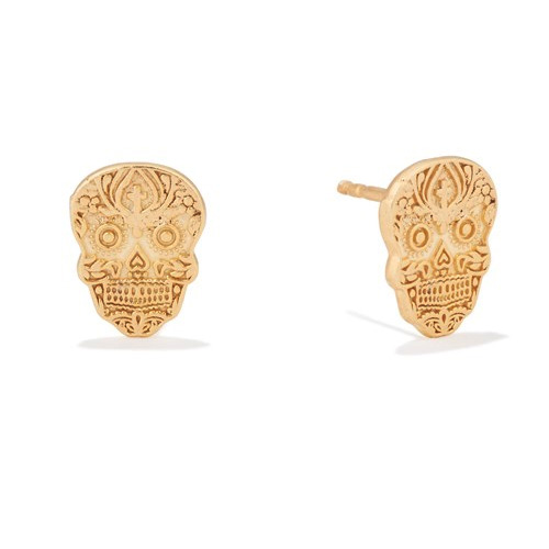 The Calavera earrings are plated in 14k gold.