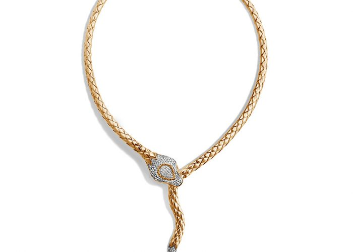 This John Hardy necklace is made from 18k yellow gold.