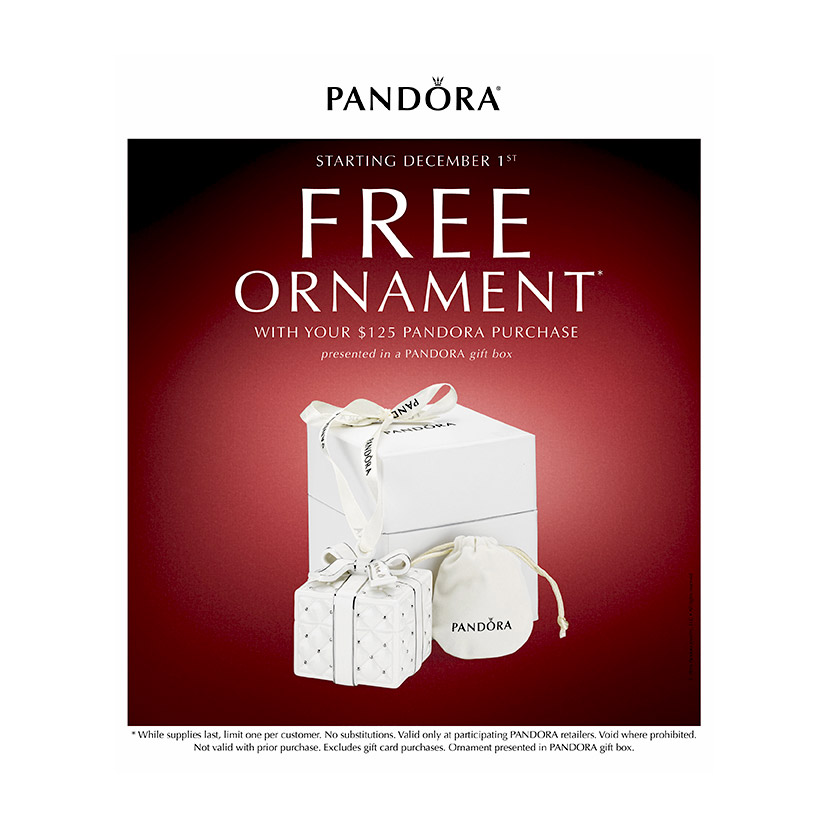 Shop Pandora beads and charms and receive a free Pandora ornament.