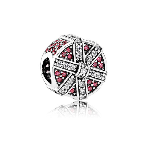 This charm features red and white cubic zirconia.
