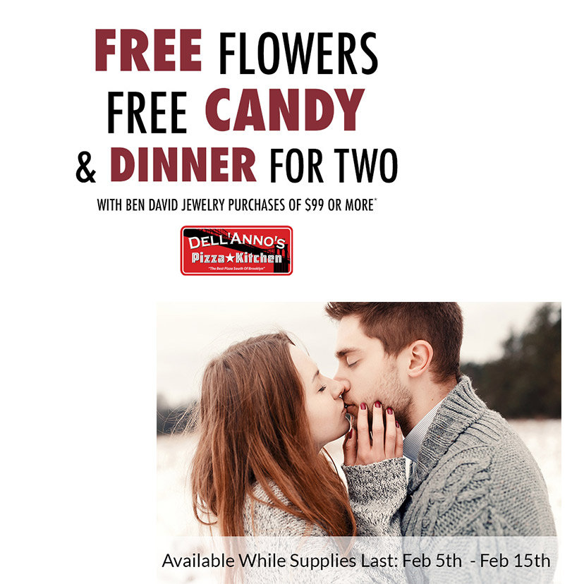 Free Valentine's Day gifts at Ben David Jewelers.