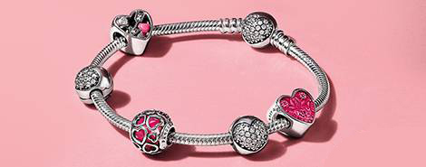 Sterling silver bracelet with Valentine's Day charms makes the perfect gift.