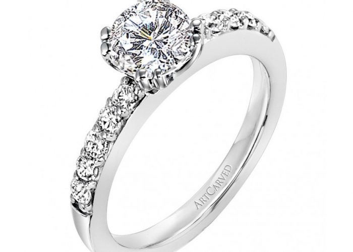 Vintage engagement rings style by ArtCarved Bridal.