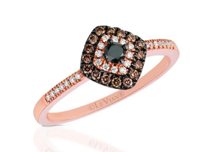 Black diamond engagement ring created by Le Vian jewelers.