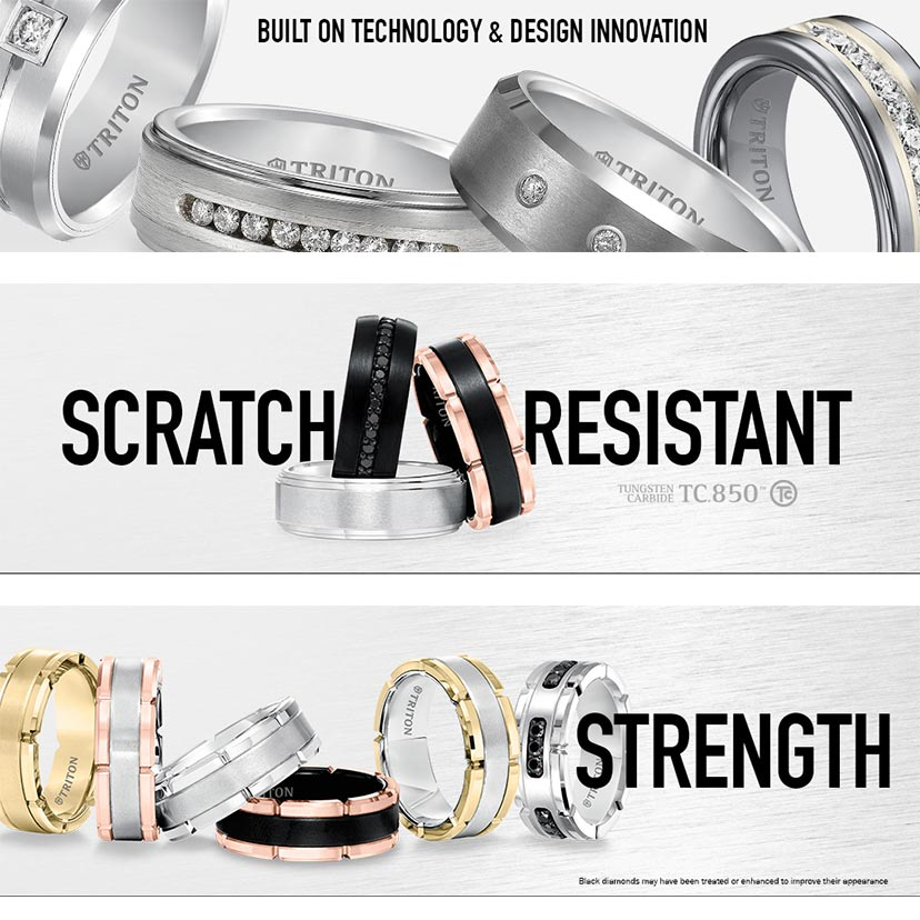 Triton rings offer rugged scratch resistance.