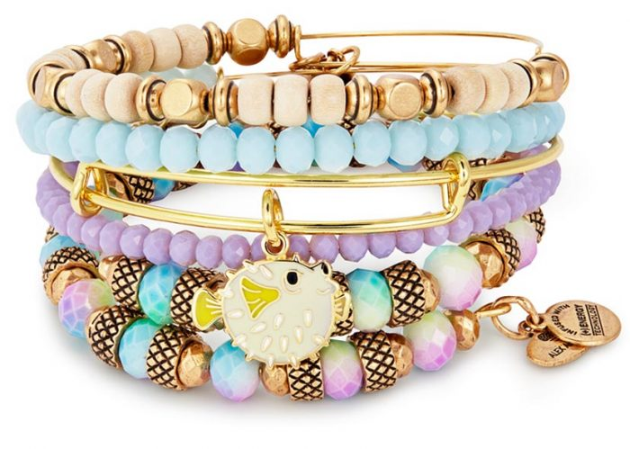 Alex and Ani summer bangle set with a pufferfish.