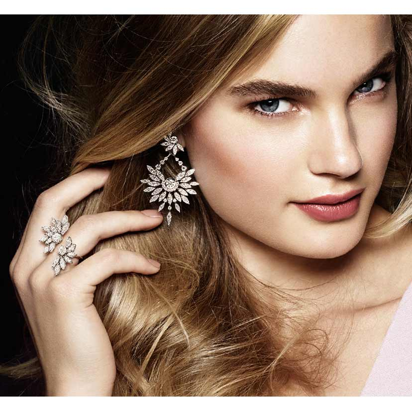 Diamond earrings are prominantly featured in this collection.