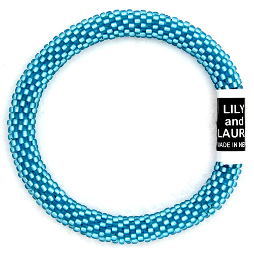 This bracelet is Caribbean blue for a beautiful way to lighten up your outfit.