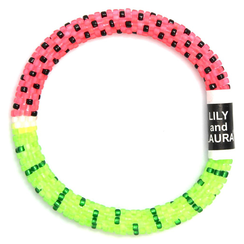 Lily and Laura bracelets are handmade crocheted.