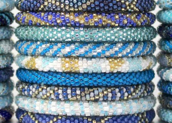 Blue bracelets attract onlookers.