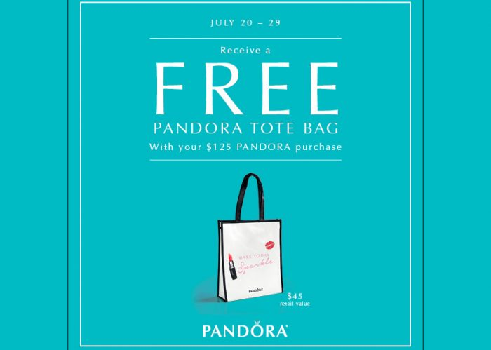 Stock up on Pandora beads and charms and receive a free Pandora Tote bag.