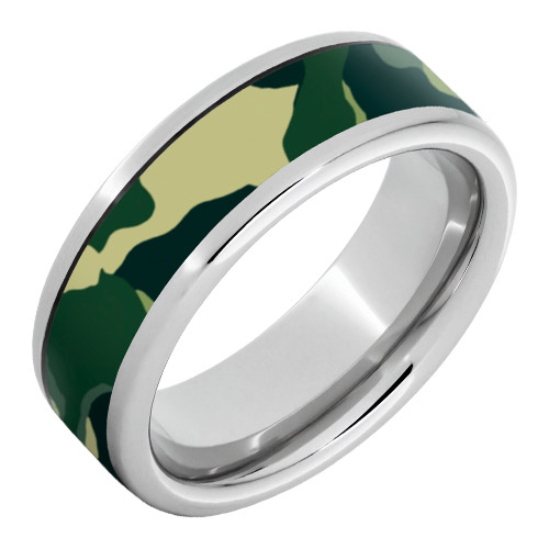 Serinium Pipe Cut-Band with 5mm Military Camo by Jewelry Innovations