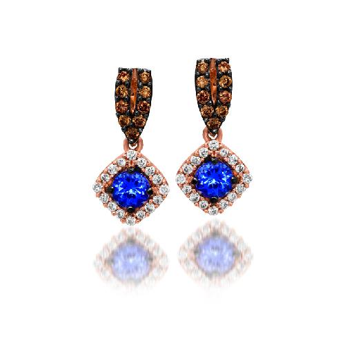 Tanzanite Drop Ear White Diamonds/Choc Diamond Earrings