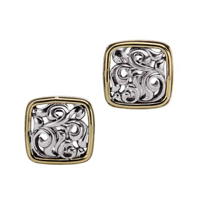Sterling Silver Square Ivy Stud Earrings
