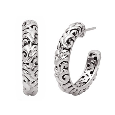 Sterling Silver Ivy Hoop Earrings
