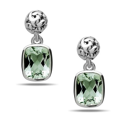 Sterling Silver Ivy Green Amethyst Cushion Drop Earring