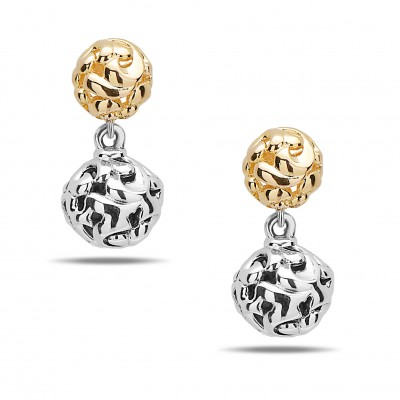 Sterling & 14kw Ivy Earring with 18kg Micron Bead Drop Down Earrings