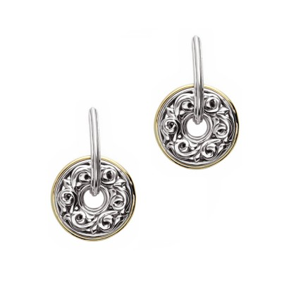 Sterling Silver Ivy Circle Drop Dangle Earrings