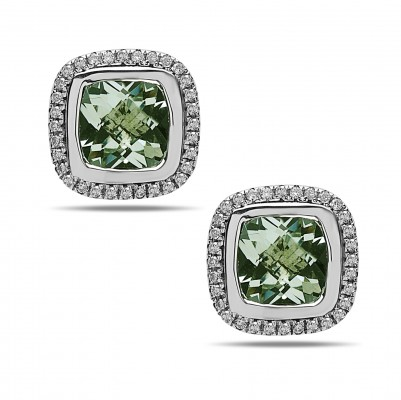 Sterling Silver Green Amethyst and Diamond Cushion Stud Earrings