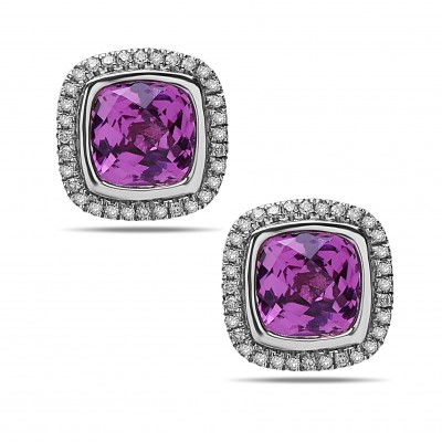 Sterling Silver Pink Topaz and Diamond Cushion Stud Earrings