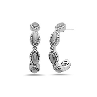 Sterling Silver Firefly Diamond Bead Half-Hoop Earrings