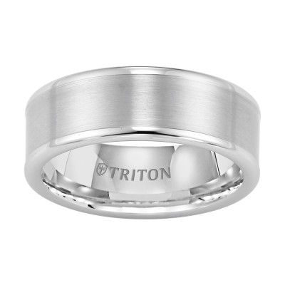 Triton 8mm White Tungsten Band