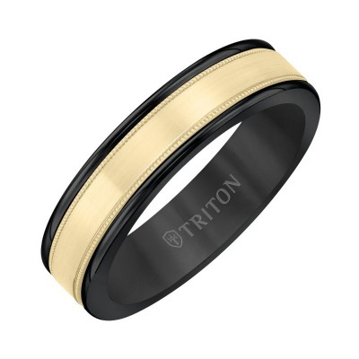 Triton 6mm Black Tungsten & 14KY Band