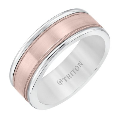 Triton 8mm White Tungsten & 14KR Band