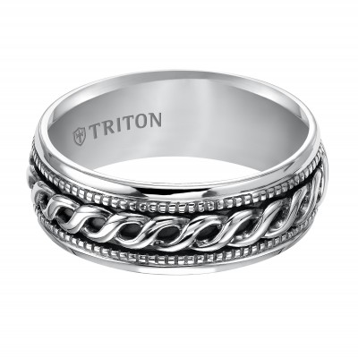 Triton 8mm Sterling Silver Woven Band