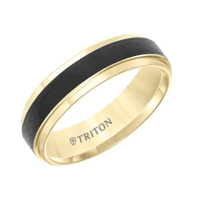 6Mm Two Tone Yellow & Black  Wedding Band