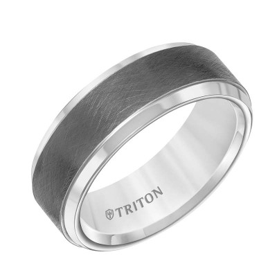 8Mm Gunmtl Gry Wedding Band