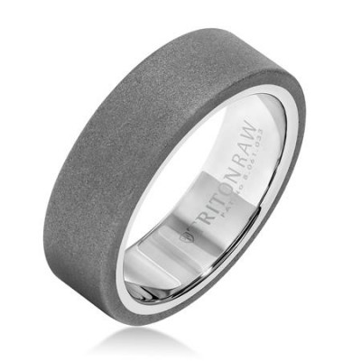 9Mm 'Tungsten Raw' White Tungsten  Wedding Band