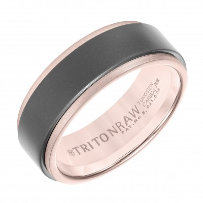 Triton 8mm 'Tungsten Raw' Rose Gold & Tungsten Band