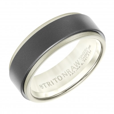 8Mm White Gold & Tungsten Wedding Band