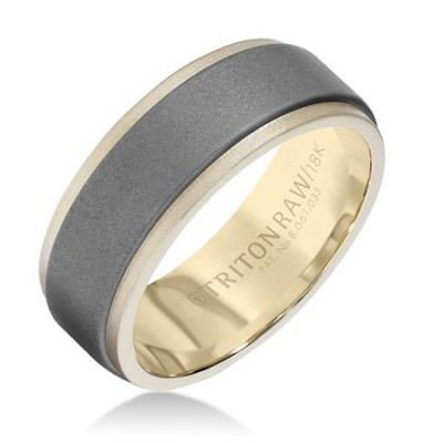 Triton 8mm 'Tungsten Raw' Yellow Gold & Tungsten Band