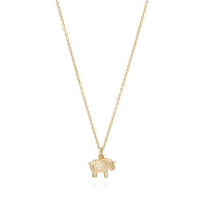 """Small Elephant Charm Necklace, 16-18"""""""