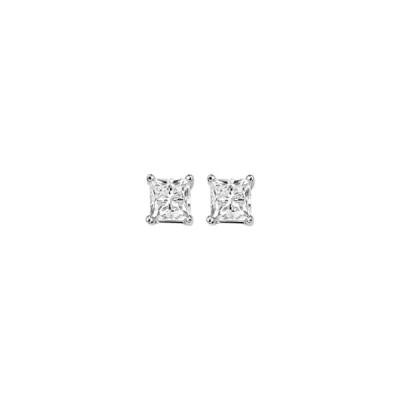 Ladies Princess Cut Diamond Stud Earrings