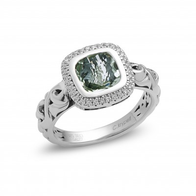 Sterling Silver Ivy Green Amethyst and Diamond Cushion Ring