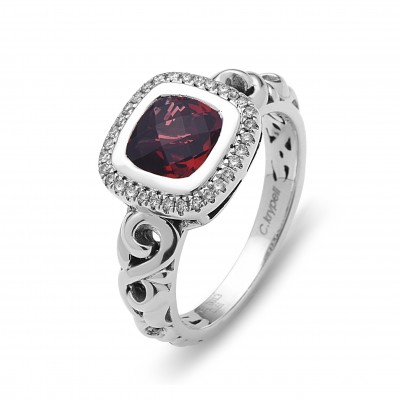 Sterling Silver Ivy Garnet and Diamond Cushion Ring