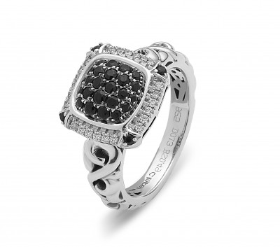 Sterling Silver Ivy Black Sapphire and Diamond Pave Ring