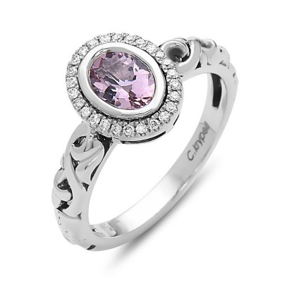Sterling Silver Ivy Morganite & Diamond Petite Oval Ring