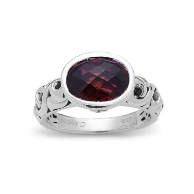 Sterling Silver Ivy Oval Garnet Ring