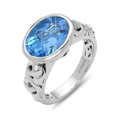 Sterling Silver Ivy Oval Blue Topaz Ring