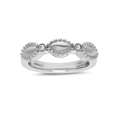 Sterling Silver Firefly Diamond Bead Single Band Ring