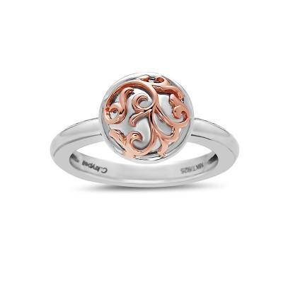 Sterling Silver/18Kp  Rnd Ring