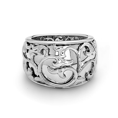 Sterling Silver Wide Lace Band